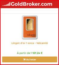 Le lingotin de 1 once Valcambi chez GoldBroker
