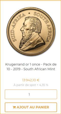 Or.fr indique clairement les commissions d'achat sur ses produits (ici une pièce Krugerrand à 4,35% de frais)